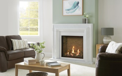 Gazco Riva2 750HL Edge gas fire with Ledgestone Effect Lining. Shown with Grafton Antique White Marble mantel